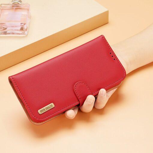 Samsung S21 Ultra nahast raamatkaaned Dux Ducis Hivo punane 10