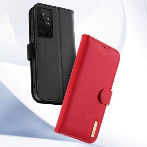 Samsung S21 Ultra nahast raamatkaaned Dux Ducis Hivo punane 11