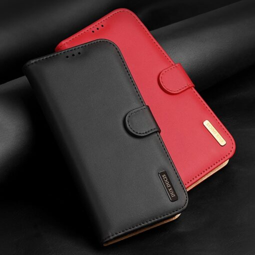 Samsung S21 Ultra nahast raamatkaaned Dux Ducis Hivo punane 13