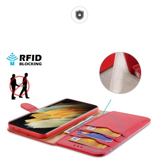 Samsung S21 Ultra nahast raamatkaaned Dux Ducis Hivo punane 2