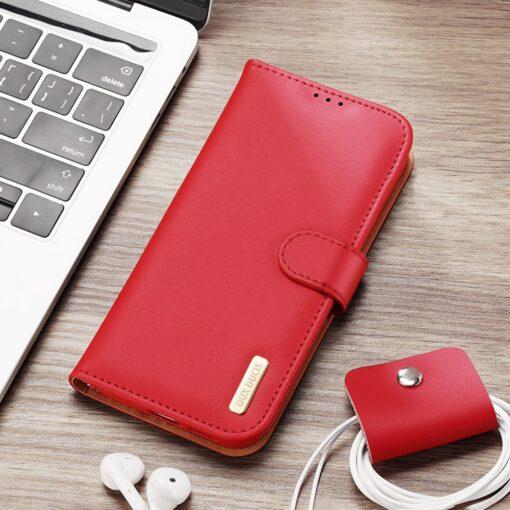 Samsung S21 Ultra nahast raamatkaaned Dux Ducis Hivo punane 21