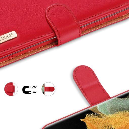 Samsung S21 Ultra nahast raamatkaaned Dux Ducis Hivo punane 5