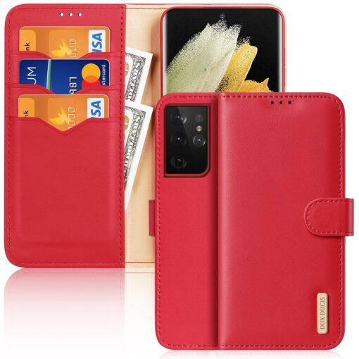 Samsung S21 Ultra nahast raamatkaaned Dux Ducis Hivo punane