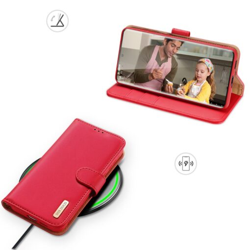 Samsung S21 Ultra nahast raamatkaaned Dux Ducis Hivo punane 6