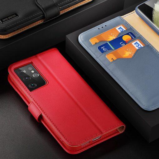 Samsung S21 Ultra nahast raamatkaaned Dux Ducis Hivo punane 8