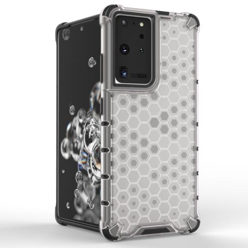 Samsung S21 Ultra plastikust kargstruktuuri ja silikoonist raamiga umbris must 1