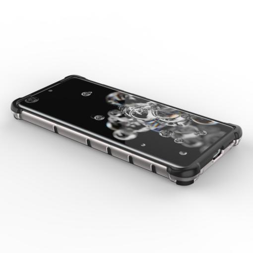 Samsung S21 Ultra plastikust kargstruktuuri ja silikoonist raamiga umbris must 10