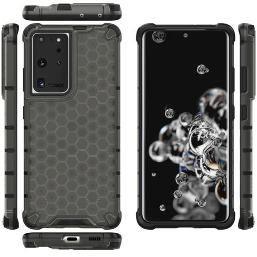 Samsung S21 Ultra plastikust kargstruktuuri ja silikoonist raamiga umbris must 11
