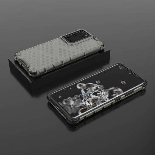 Samsung S21 Ultra plastikust kargstruktuuri ja silikoonist raamiga umbris must 12