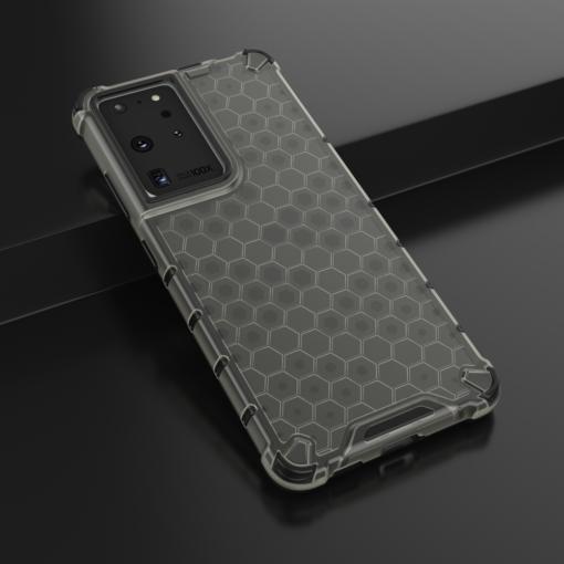 Samsung S21 Ultra plastikust kargstruktuuri ja silikoonist raamiga umbris must 13