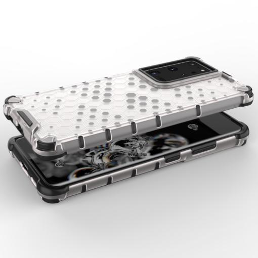Samsung S21 Ultra plastikust kargstruktuuri ja silikoonist raamiga umbris must 2