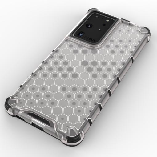Samsung S21 Ultra plastikust kargstruktuuri ja silikoonist raamiga umbris must 3