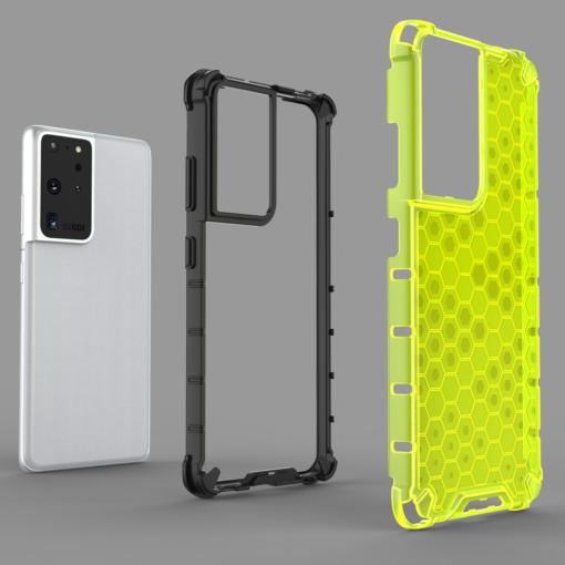 Samsung S21 Ultra plastikust kargstruktuuri ja silikoonist raamiga umbris must 4