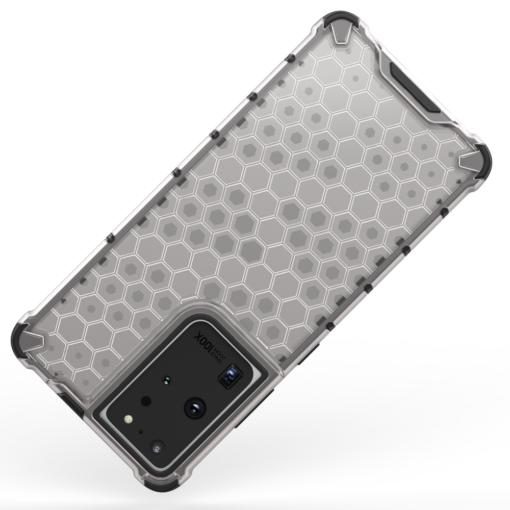Samsung S21 Ultra plastikust kargstruktuuri ja silikoonist raamiga umbris must 5