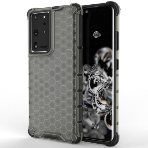 Samsung S21 Ultra plastikust kargstruktuuri ja silikoonist raamiga umbris must