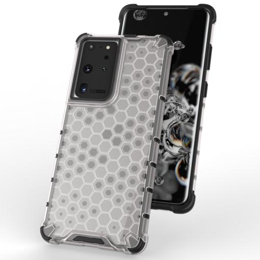 Samsung S21 Ultra plastikust kargstruktuuri ja silikoonist raamiga umbris must 6