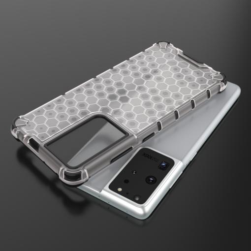 Samsung S21 Ultra plastikust kargstruktuuri ja silikoonist raamiga umbris must 7