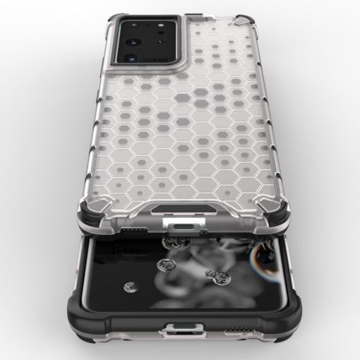 Samsung S21 Ultra plastikust kargstruktuuri ja silikoonist raamiga umbris must 8