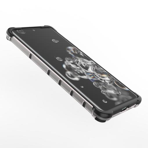 Samsung S21 Ultra plastikust kargstruktuuri ja silikoonist raamiga umbris must 9