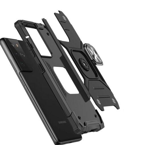 Samsung S21 Ultra tugev umbris Ring Armor plastikust taguse ja silikoonist nurkadega must 2