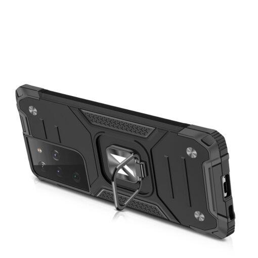 Samsung S21 Ultra tugev umbris Ring Armor plastikust taguse ja silikoonist nurkadega must 3
