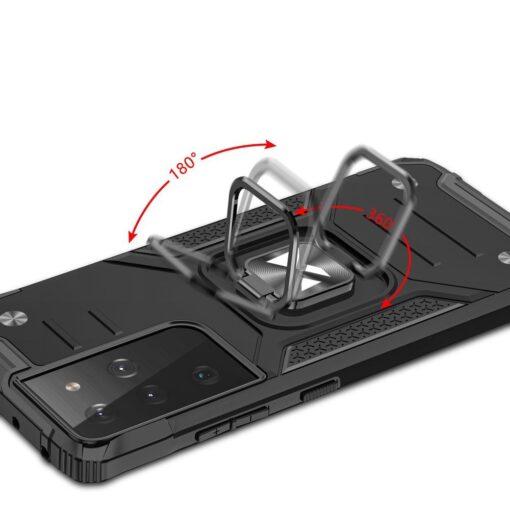 Samsung S21 Ultra tugev umbris Ring Armor plastikust taguse ja silikoonist nurkadega must 4