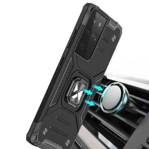 Samsung S21 Ultra tugev umbris Ring Armor plastikust taguse ja silikoonist nurkadega must 5