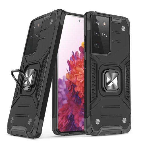 Samsung S21 Ultra tugev umbris Ring Armor plastikust taguse ja silikoonist nurkadega must