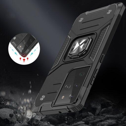 Samsung S21 Ultra tugev umbris Ring Armor plastikust taguse ja silikoonist nurkadega must 6
