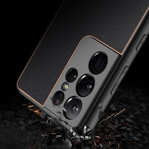 Samsung S21 Ultra umbris Dux Ducis Yolo elegant kunstnahast ja silikoonist servadega must 10
