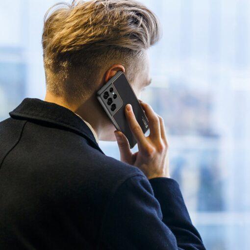 Samsung S21 Ultra umbris Dux Ducis Yolo elegant kunstnahast ja silikoonist servadega must 12
