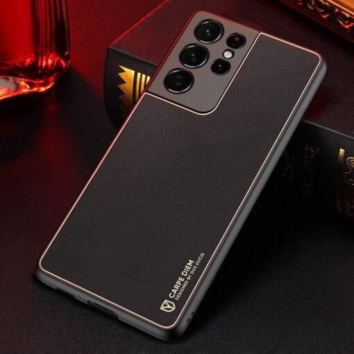 Samsung S21 Ultra umbris Dux Ducis Yolo elegant kunstnahast ja silikoonist servadega must 14