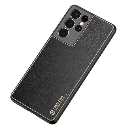 Samsung S21 Ultra umbris Dux Ducis Yolo elegant kunstnahast ja silikoonist servadega must 3