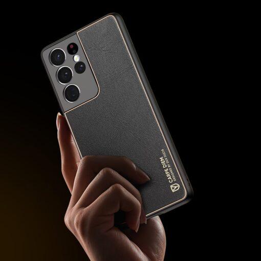 Samsung S21 Ultra umbris Dux Ducis Yolo elegant kunstnahast ja silikoonist servadega must 7