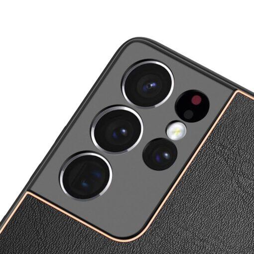 Samsung S21 Ultra umbris Dux Ducis Yolo elegant kunstnahast ja silikoonist servadega must 8