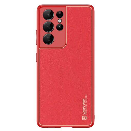 Samsung S21 Ultra umbris Dux Ducis Yolo elegant kunstnahast ja silikoonist servadega punane 1