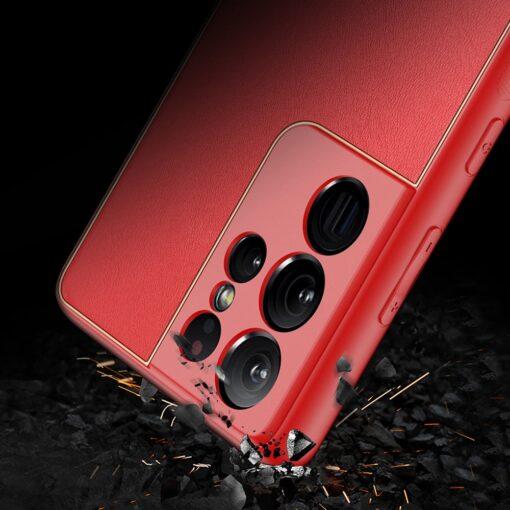 Samsung S21 Ultra umbris Dux Ducis Yolo elegant kunstnahast ja silikoonist servadega punane 10