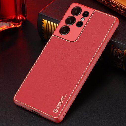 Samsung S21 Ultra umbris Dux Ducis Yolo elegant kunstnahast ja silikoonist servadega punane 14