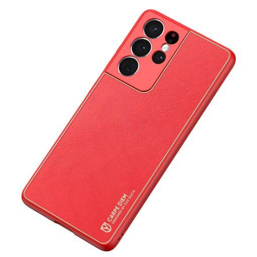 Samsung S21 Ultra umbris Dux Ducis Yolo elegant kunstnahast ja silikoonist servadega punane 3