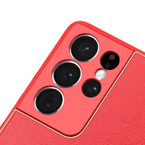 Samsung S21 Ultra umbris Dux Ducis Yolo elegant kunstnahast ja silikoonist servadega punane 5