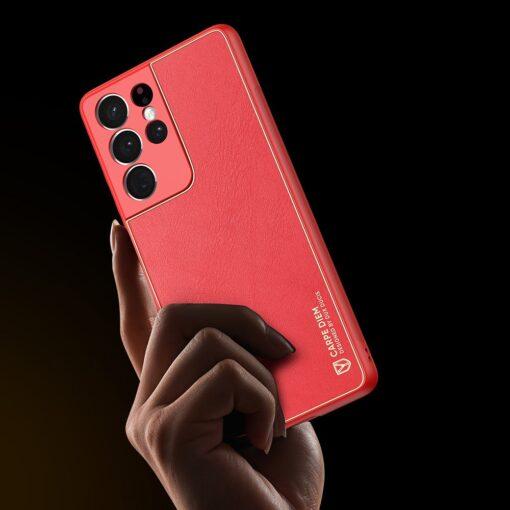 Samsung S21 Ultra umbris Dux Ducis Yolo elegant kunstnahast ja silikoonist servadega punane 8