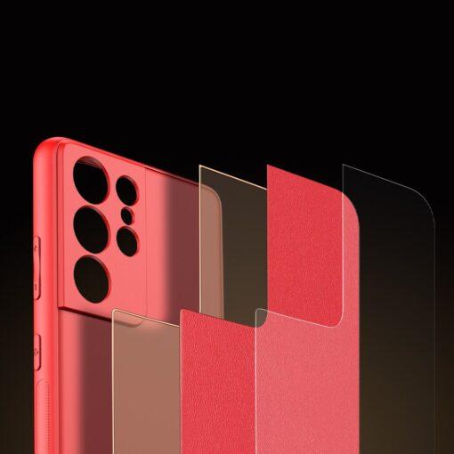 Samsung S21 Ultra umbris Dux Ducis Yolo elegant kunstnahast ja silikoonist servadega punane 9