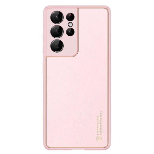 Samsung S21 Ultra umbris Dux Ducis Yolo elegant kunstnahast ja silikoonist servadega roosa 1