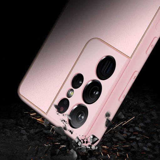 Samsung S21 Ultra umbris Dux Ducis Yolo elegant kunstnahast ja silikoonist servadega roosa 10