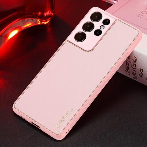 Samsung S21 Ultra umbris Dux Ducis Yolo elegant kunstnahast ja silikoonist servadega roosa 14