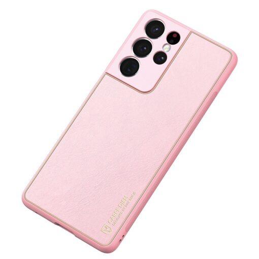 Samsung S21 Ultra umbris Dux Ducis Yolo elegant kunstnahast ja silikoonist servadega roosa 3