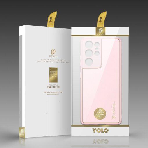 Samsung S21 Ultra umbris Dux Ducis Yolo elegant kunstnahast ja silikoonist servadega roosa 4