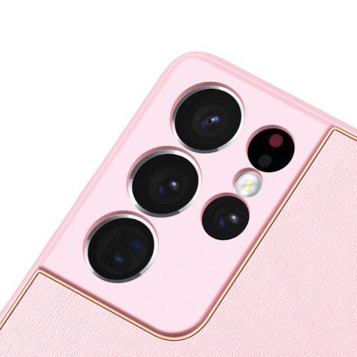 Samsung S21 Ultra umbris Dux Ducis Yolo elegant kunstnahast ja silikoonist servadega roosa 5