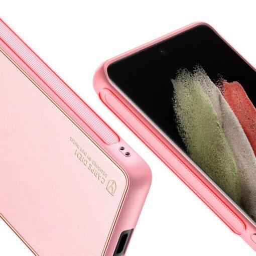Samsung S21 Ultra umbris Dux Ducis Yolo elegant kunstnahast ja silikoonist servadega roosa 7