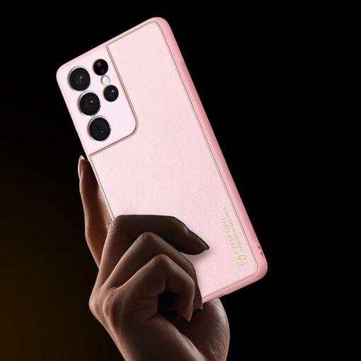 Samsung S21 Ultra umbris Dux Ducis Yolo elegant kunstnahast ja silikoonist servadega roosa 8